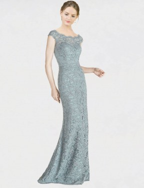 Blue Mermaid Fit and Flare Off the Shoulder Floor Length Cap Sleeves Lace Bridesmaid Dresses Albury