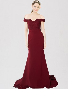 Burgundy Gold Mermaid Sweetheart Off the Shoulder Sweep Train Floor Length Stretch Crepe & Lace Bridesmaid Dresses Albury