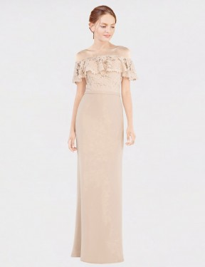 Champagne A-Line Off the Shoulder Floor Length Sleeveless Chiffon & Lace Bridesmaid Dresses Albury