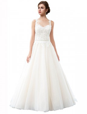Ivory A-Line Illusion Cathedral Train Sleeveless Tulle Wedding Dresses Albury