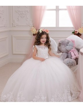 Shop Ivory Ball Gown Bateau Chapel Train Sleeveless Lace & Tulle Flower Girl Dresses Albury