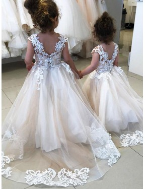 Ivory Ball Gown Chapel Train Sleeveless Lace & Tulle Flower Girl Dresses Albury