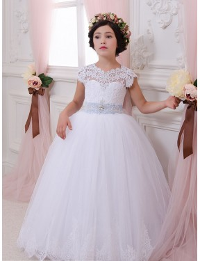 Ivory Ball Gown Sweetheart Chapel Train Cap Sleeve Lace & Tulle Flower Girl Dresses Albury