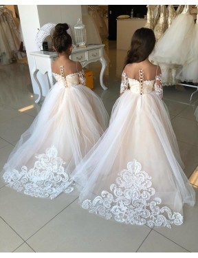 Ivory Ball Gown Sweetheart Chapel Train Long Sleeve Lace & Tulle Flower Girl Dresses Albury