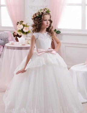 Ivory Ball Gown Sweetheart Chapel Train Sleeveless Lace & Tulle Flower Girl Dresses Albury