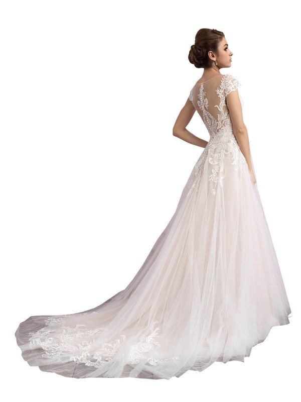 Ivory & Champagne A-Line Illusion Cathedral Train Cap Sleeves Tulle Wedding Dresses Albury