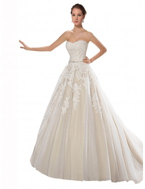 Ivory & Champagne A-Line Strapless Chapel Train Sleeveless Tulle & Lace Wedding Dresses Albury