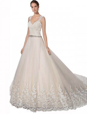 Ivory & Champagne A-Line Sweetheart Chapel Train Sleeveless Tulle & Lace Wedding Dresses Albury