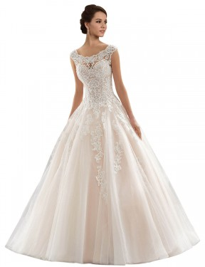 Ivory & Champagne Ball Gown Bateau Chapel Train Cap Sleeves Lace & Tulle Wedding Dresses Albury