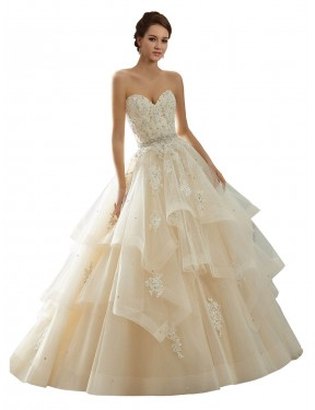 Shop Ivory & Champagne Ball Gown Sweetheart Chapel Train Sleeveless Lace Wedding Dresses Albury