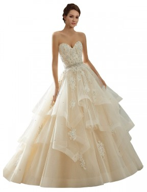 Ivory & Champagne Ball Gown Sweetheart Chapel Train Sleeveless Lace Wedding Dresses Albury