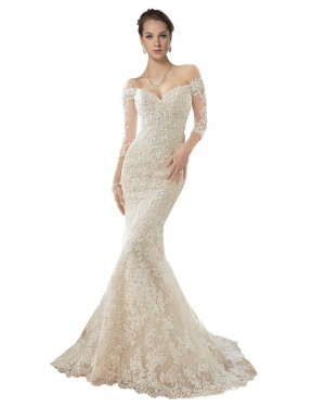 Ivory & Champagne Mermaid Off the Shoulder Chapel Train Long Sleeves Lace & Tulle Wedding Dresses Albury