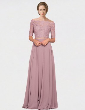 Pink A-Line Off the Shoulder Floor Length Short Sleeves Chiffon & Lace Bridesmaid Dresses Albury