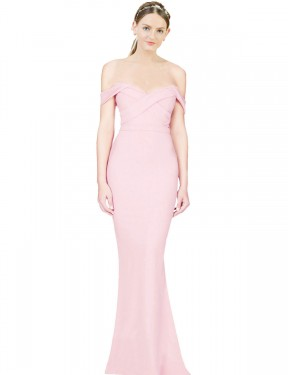 Pink A-Line Strapless High Low Off the Shoulder Stretch Crepe Bridesmaid Dresses Albury