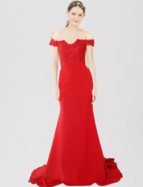 Red Mermaid Sweetheart Off the Shoulder Sweep Train Floor Length Stretch Crepe & Lace Bridesmaid Dresses Albury