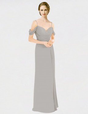 Silver A-Line Spaghetti Straps Sweetheart Off the Shoulder Floor Length Sleeveless Chiffon & Lace Bridesmaid Dresses Albury