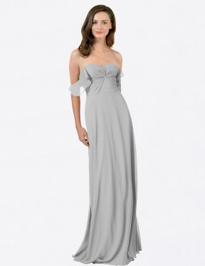 Silver A-Line Strapless Sweetheart Floor Length Off the Shoulder Chiffon Bridesmaid Dresses Albury