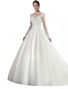 White A-Line Illusion Cathedral Train Long Sleeves Satin & Lace Wedding Dresses Albury