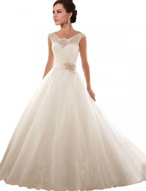 White Ball Gown Off the Shoulder Chapel Train Sleeveless Lace & Tulle Wedding Dresses Albury